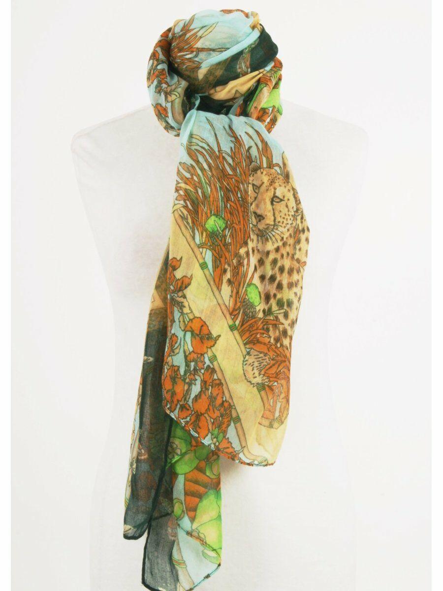 Luchtige sjaal in aqua en peach met luipaardprint