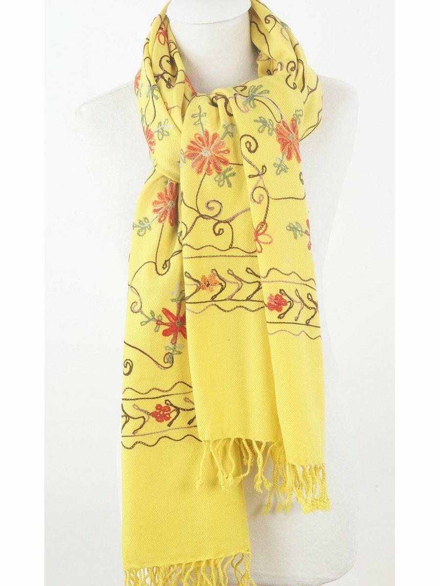 Geborduurde gele Pashmina sjaal