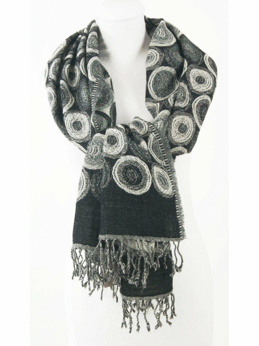 Wollen Pashmina sjaal met grafisch design