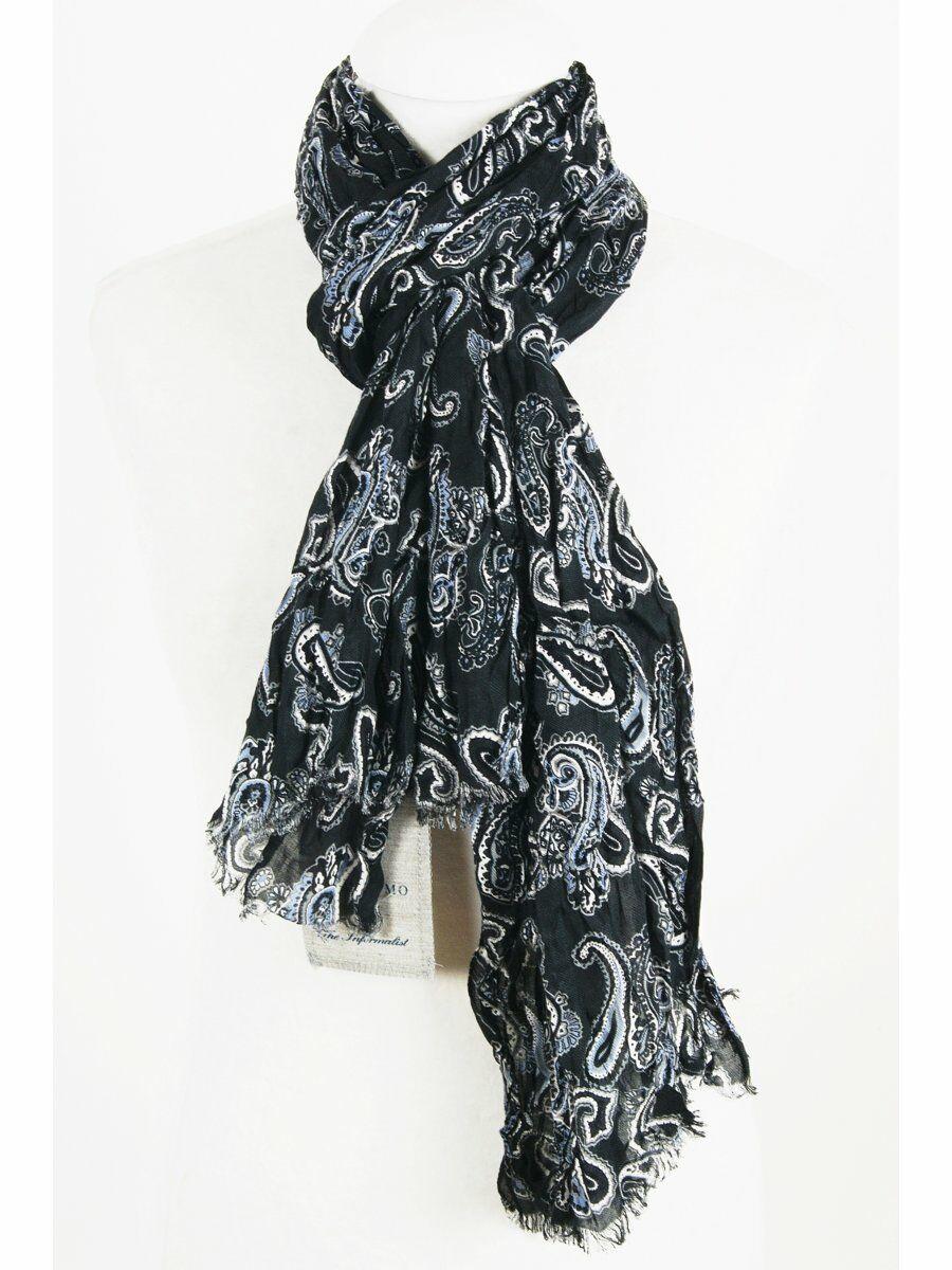 Zwarte casual crushed sjaal met paisleyprint