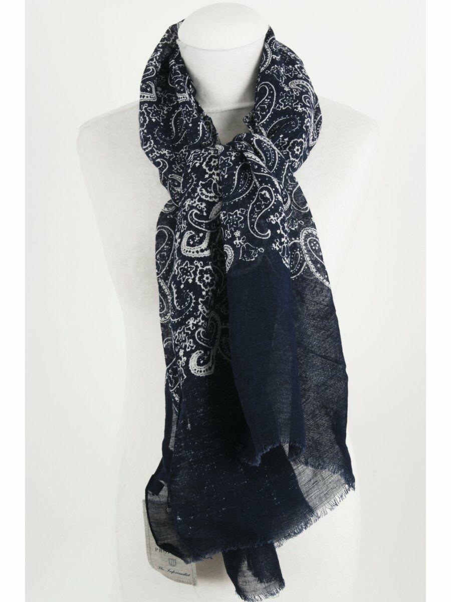 Casual donkerblauwe linnen sjaal met paisleyprint