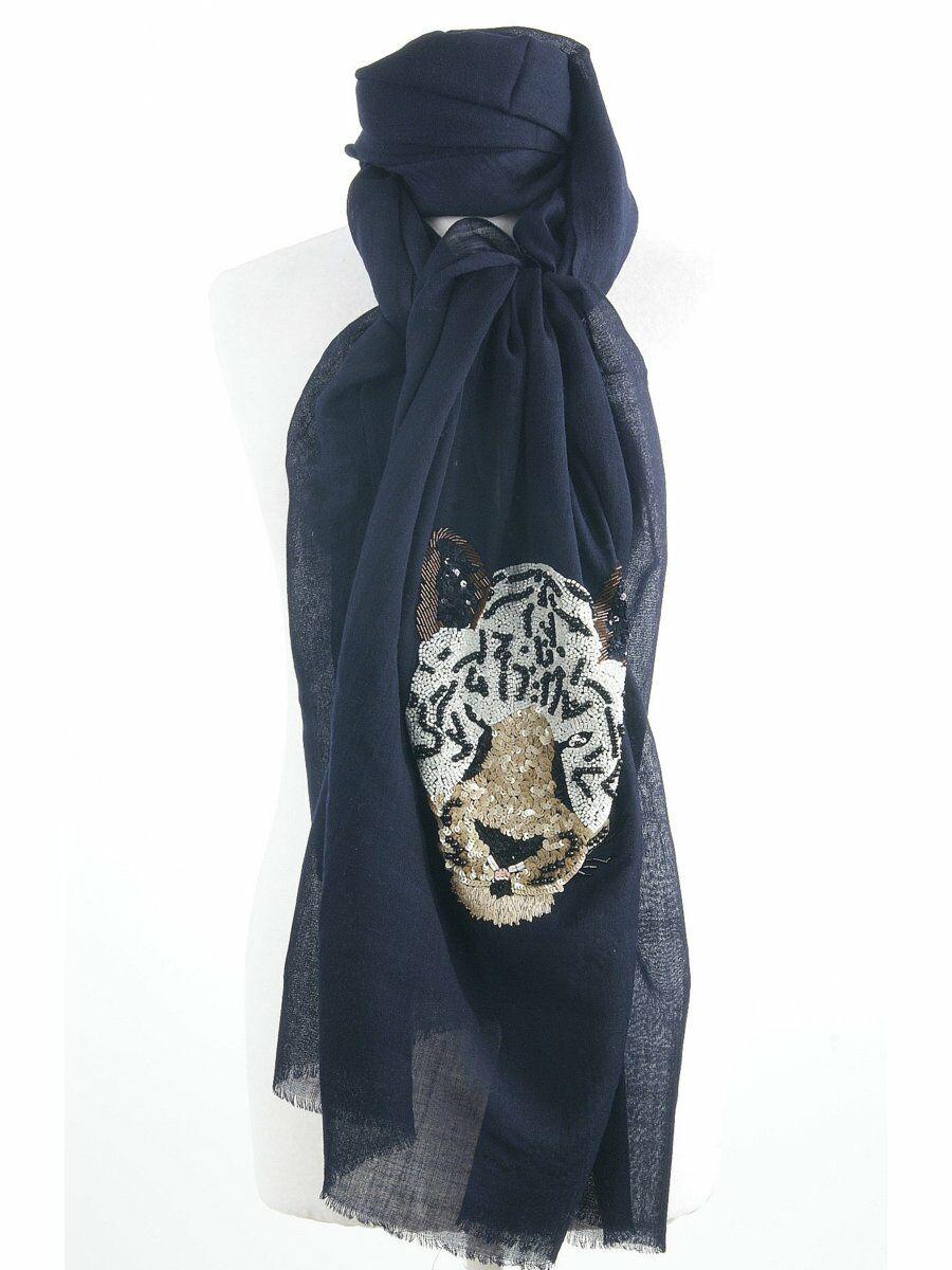 Donkerblauwe merino wollen sjaal met geborduurde tijgerkop
