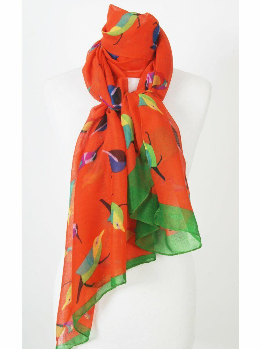 Helder oranje sjaal met vogelprint
