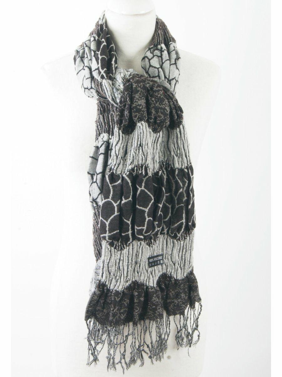 Gesmokte sjaal in zilvergrijs met donkerbruin