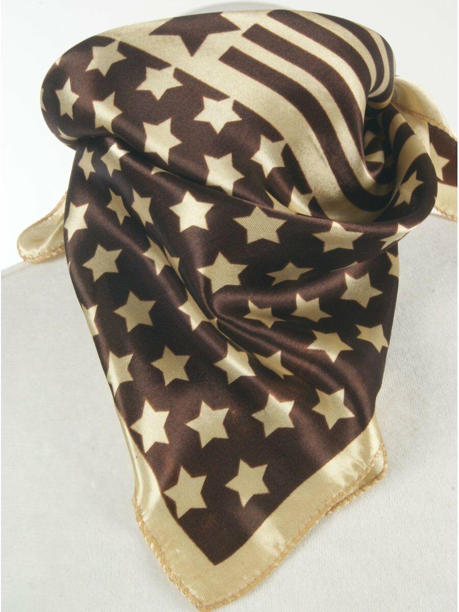 Satijnen bruine vierkante sjaal met Amerikaanse vlag print Dames > Sjaals > Polysatijnen sjaals maat  van  snel en voordelig in huis? Hier lukt het direct
