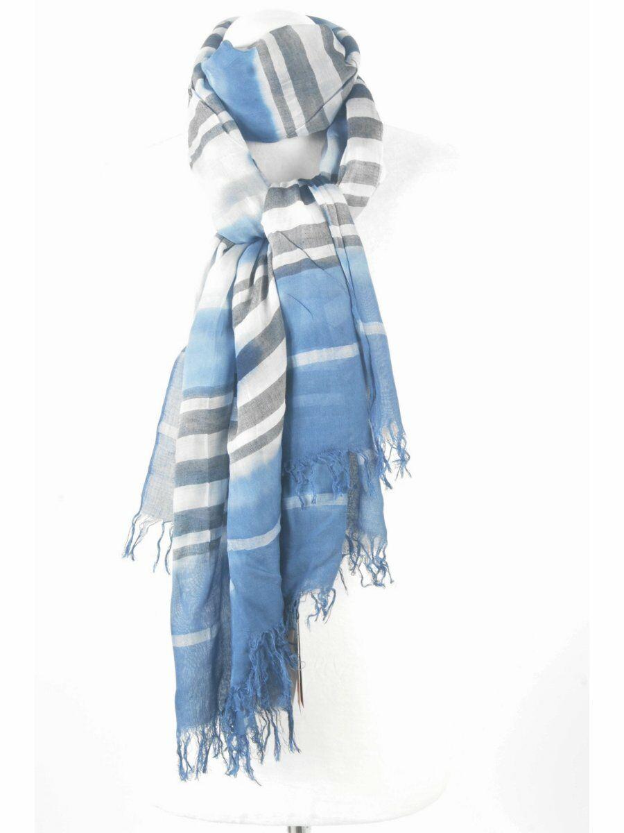 Casual sjaal met streeppatroon op tie&dye gewolkte ondergrond