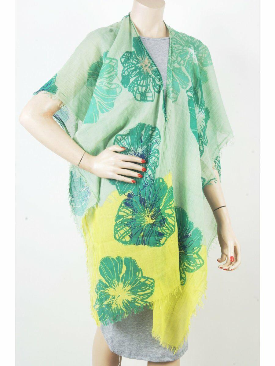 Zomerse geel-groene omslagdoek met oversized bloem-print Dames > Kaftans & Tunieken maat  van  snel en voordelig in huis? Hier lukt het direct