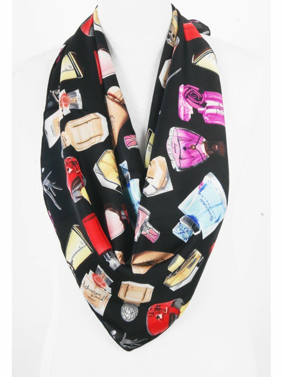 Zwarte sjaal met meerkleurige parfumflesjes