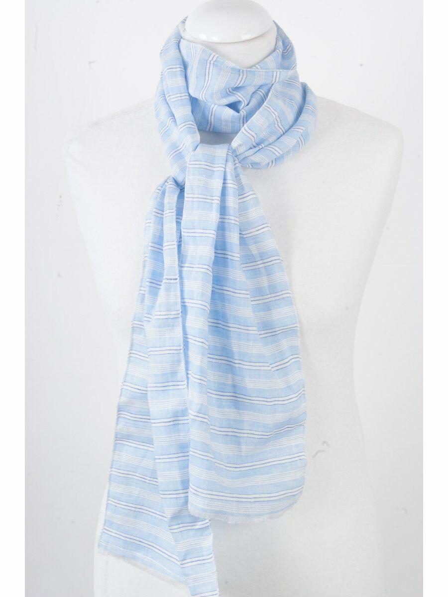 Gestreepte linnen shawl licht jeans-offwhite