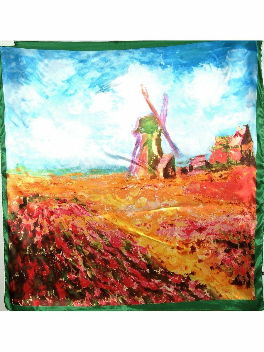 Satijn zijden Art Collection sjaal in heldere kleuren
