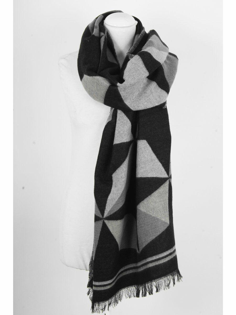 Zwarte sjaal - omslagdoek met geometrisch patroon