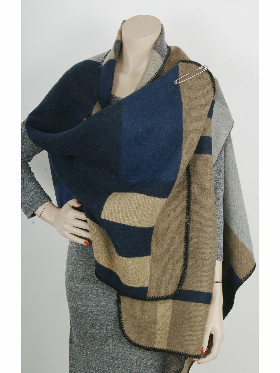 Taupe – marine color block cape / omslagdoek met armsplitten Dames > Vesten & Gilets maat  van  snel en voordelig in huis? Hier lukt het direct
