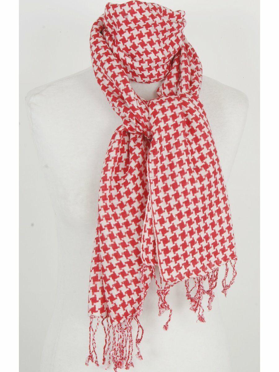 PLO-stijl sjaal met fijn geweven ruitje in rood wit