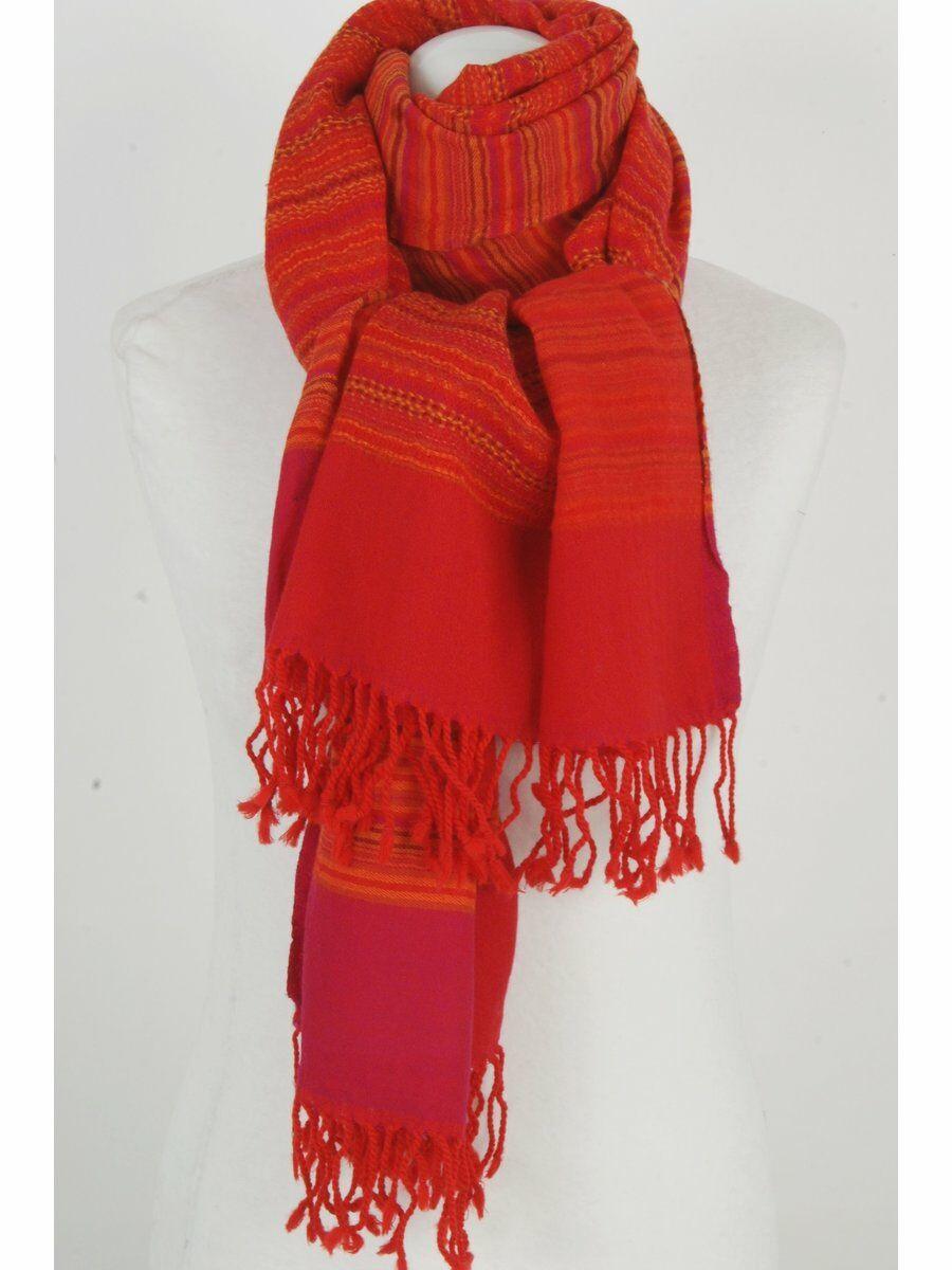Rood-oranje-fuchsia gestreepte wollen pashmina sjaal
