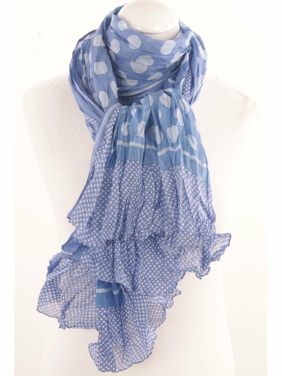 Crushed stippenprint sjaal in tinten blauw