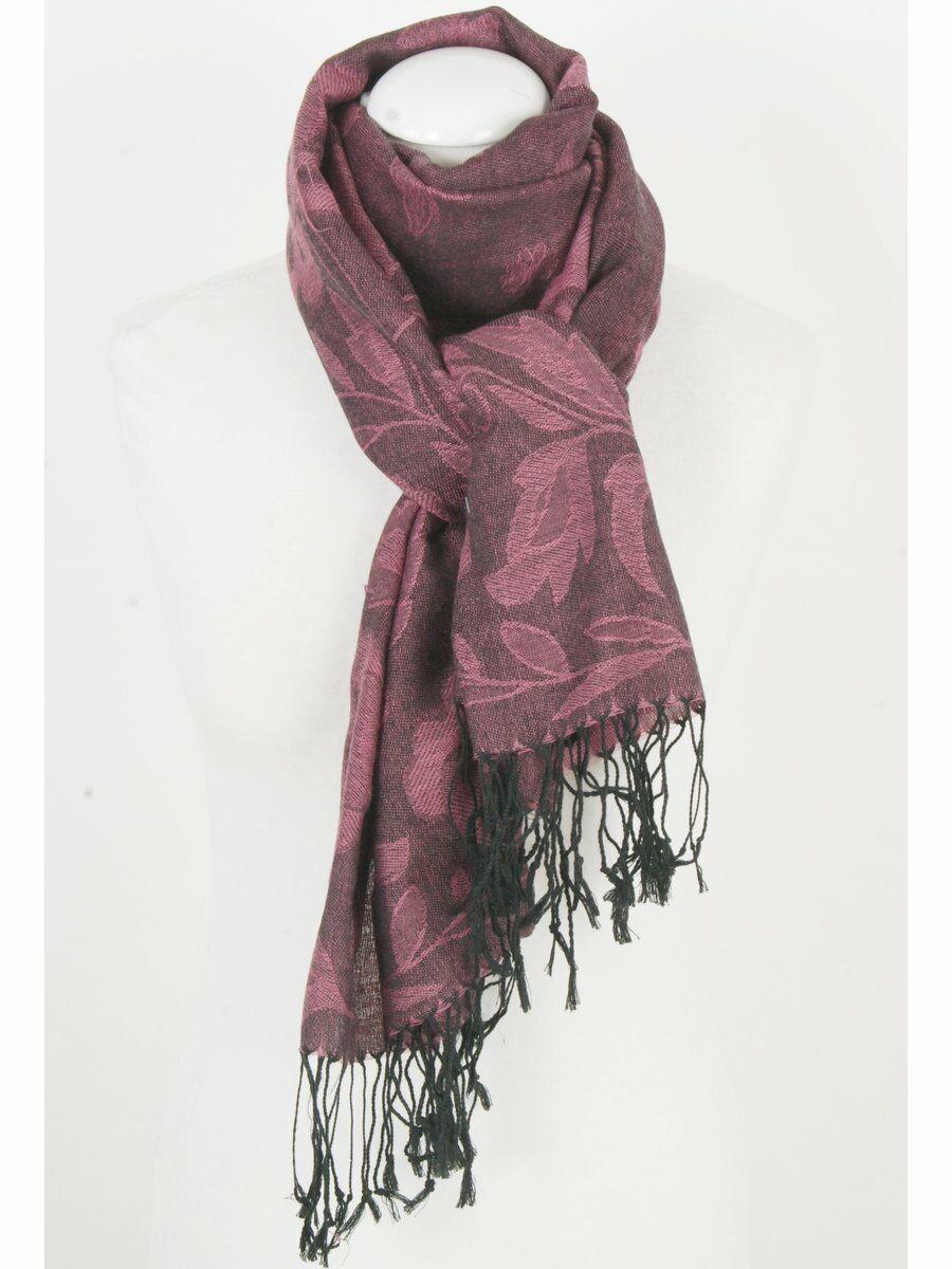 Pashmina sjaal in roze met geweven zwarte floral