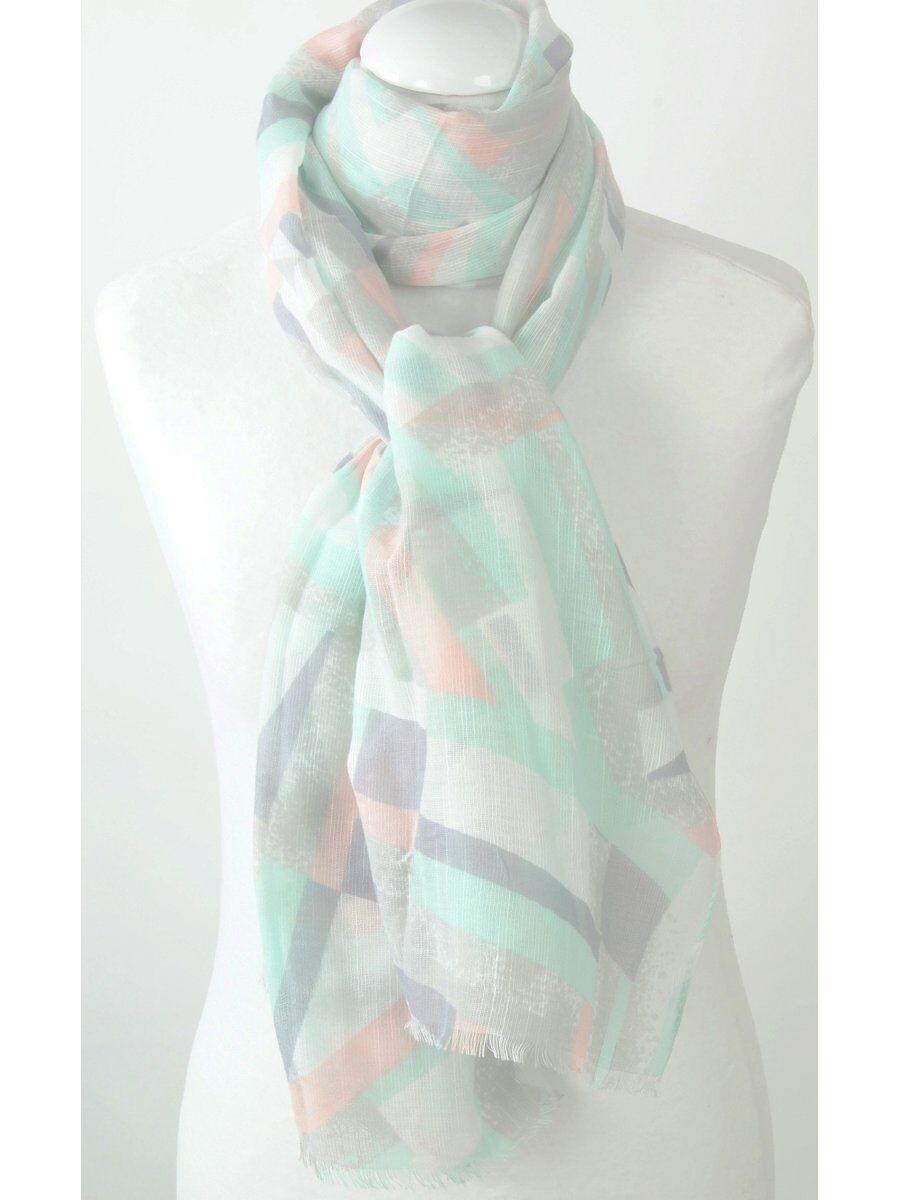 Luchtige sjaal met streepjes in zalm, grijs, mint,