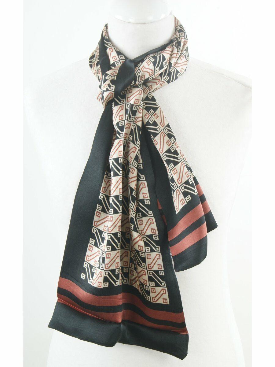 Zwarte herensjaal van twee dunne lagen zijden met design