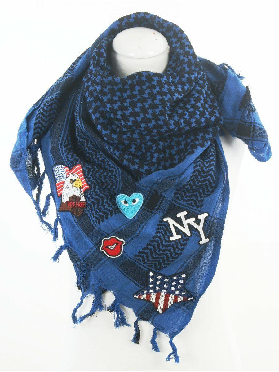 Hippe Kobaltblauw-zwarte PLO sjaal met patches