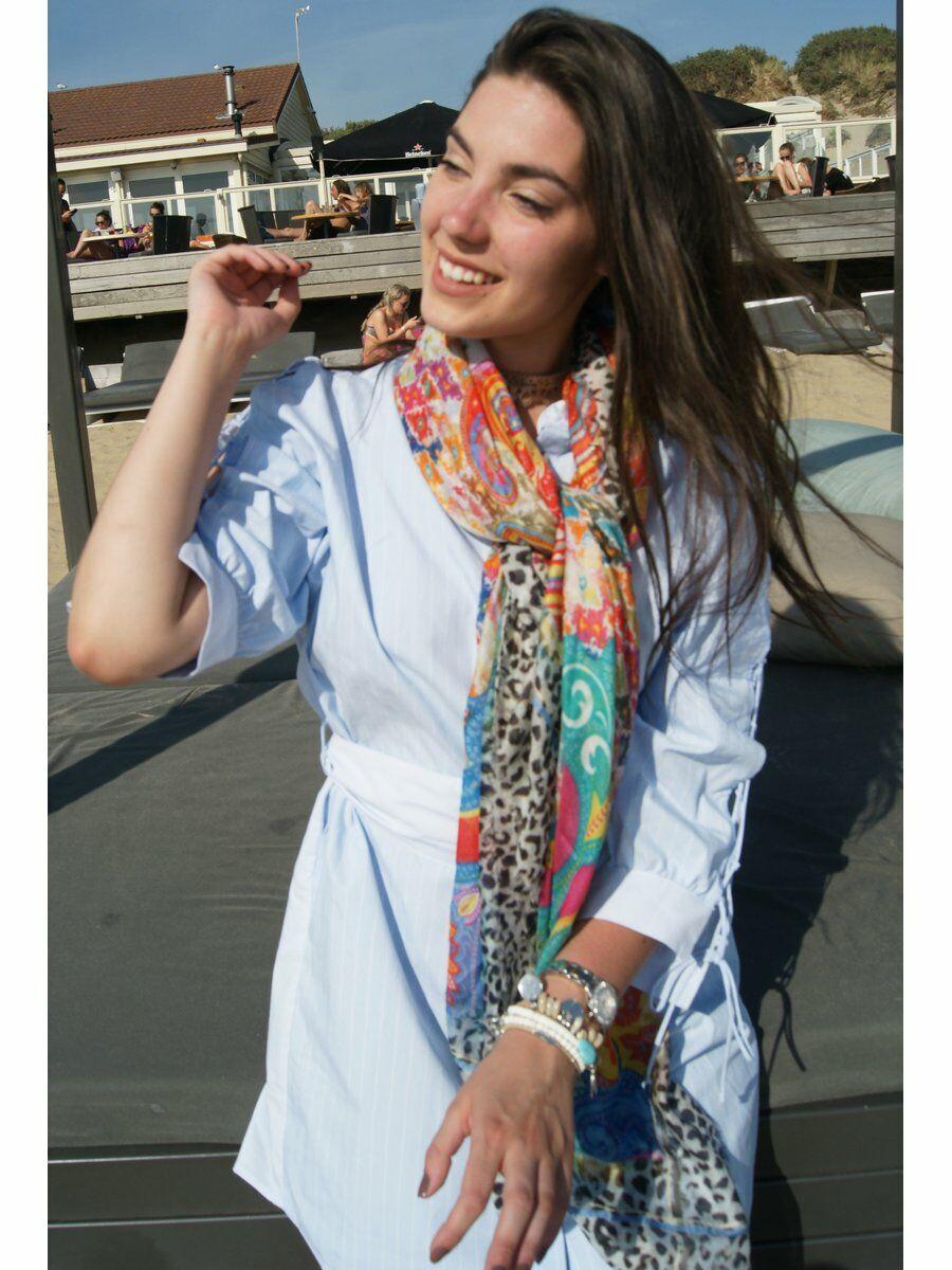 Zijde-modal blend Stroke Amsterdam sjaal in multicolor
