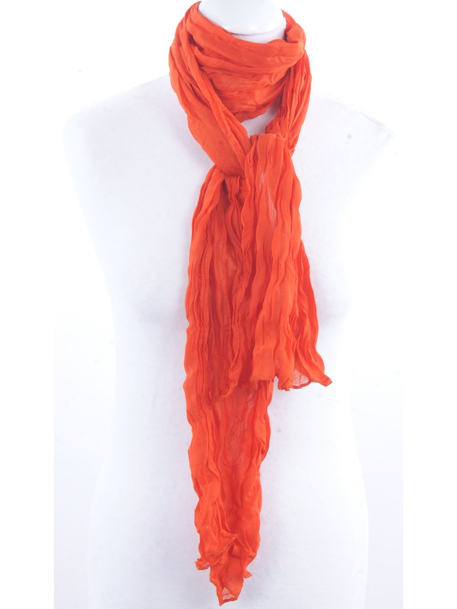 Effen oranje crushed sjaal