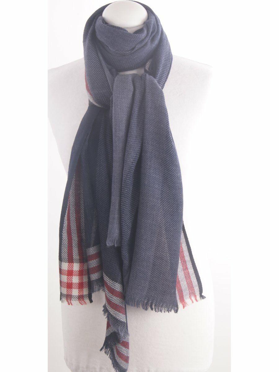 Blauwe wolblend heren sjaal met color block patroon