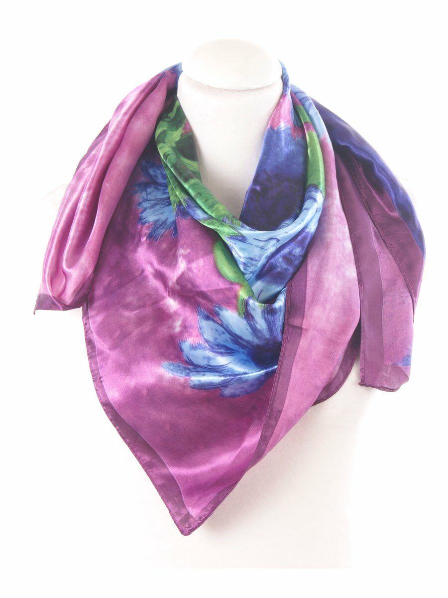 Auberginekleurige zijden sjaal met Vincent van Gogh schildering