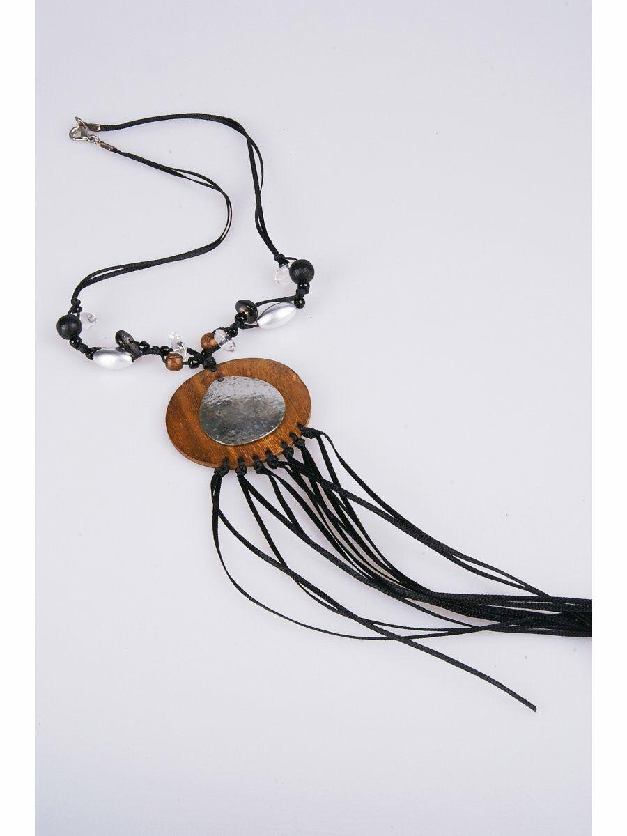 Ibiza waxkoord halsketting met houten hanger