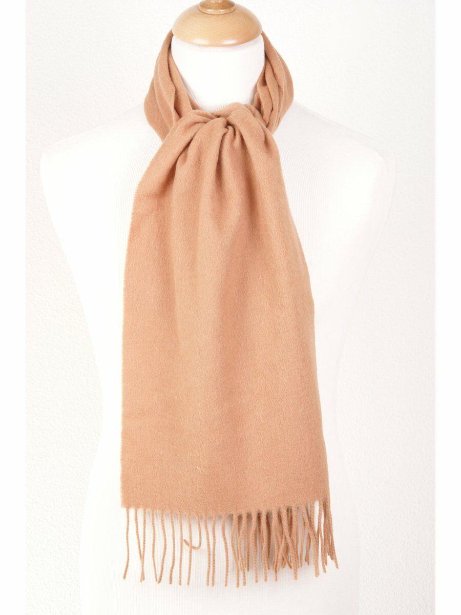 Camelkleurige zuiver wollen sjaal met franje