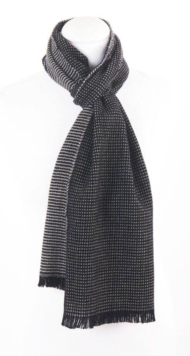 Wollen sjaal met zandkleurige geweven motief