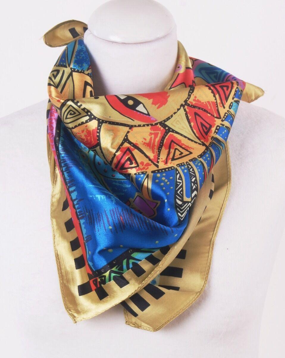 Goudkleurig vierkant satijnen sjaaltje met Laurel Burch print