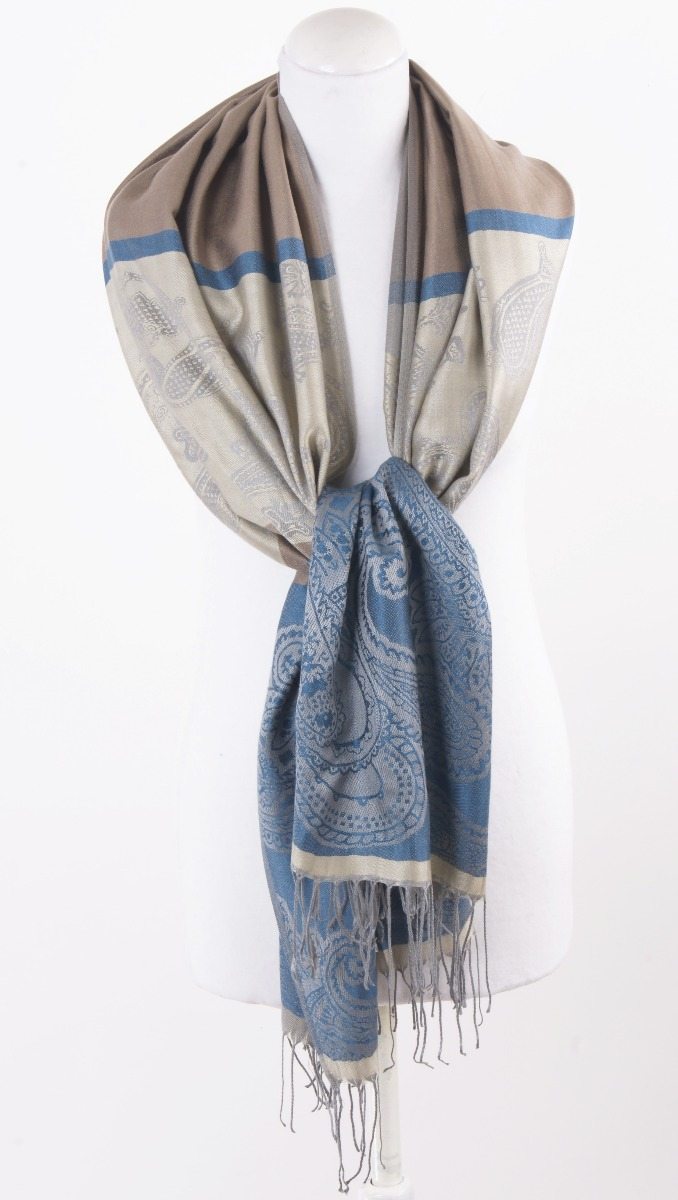 Beige/blauwe weven pashmina sjaal