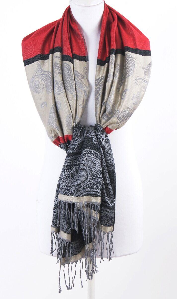 Rood/zwarte geweven pashmina sjaal
