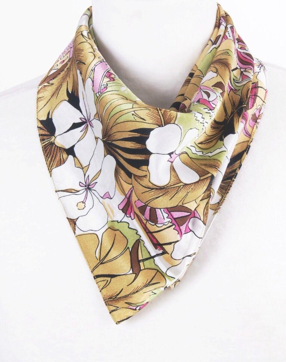 Beige/ roze satijnen sjaaltje met 'tropische print'
