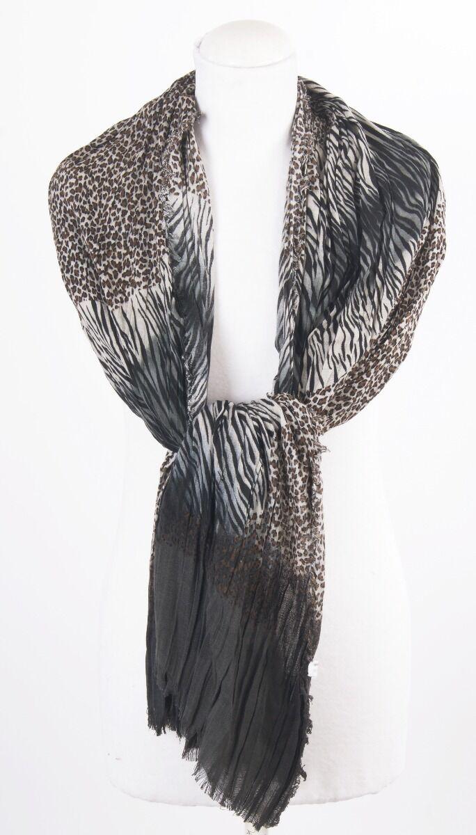 Geplisseerde sjaal met panterprint in grijs-bruin