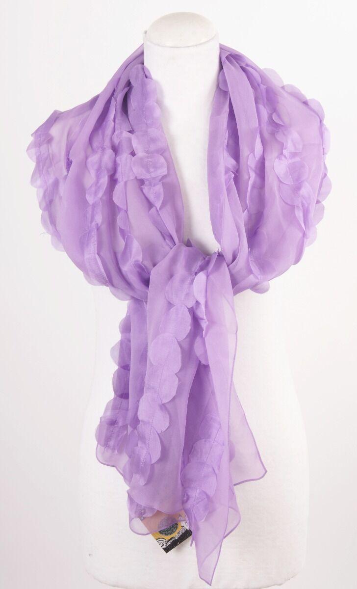 Lila zijden sjaal - stola met opgestikte blaadjes