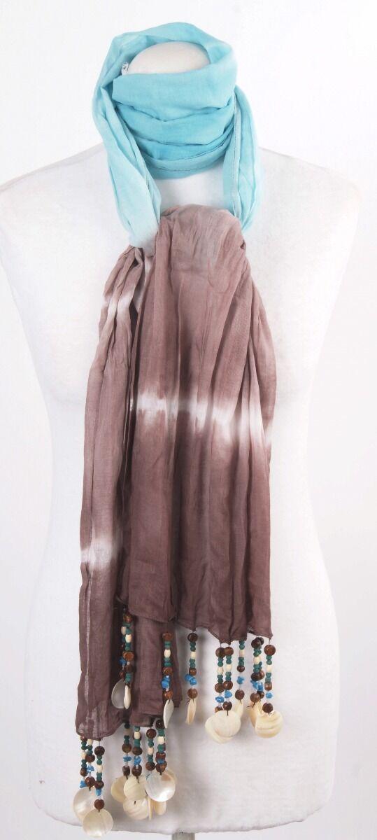 Turquoise met chocoladebruine tie&dye sjaal