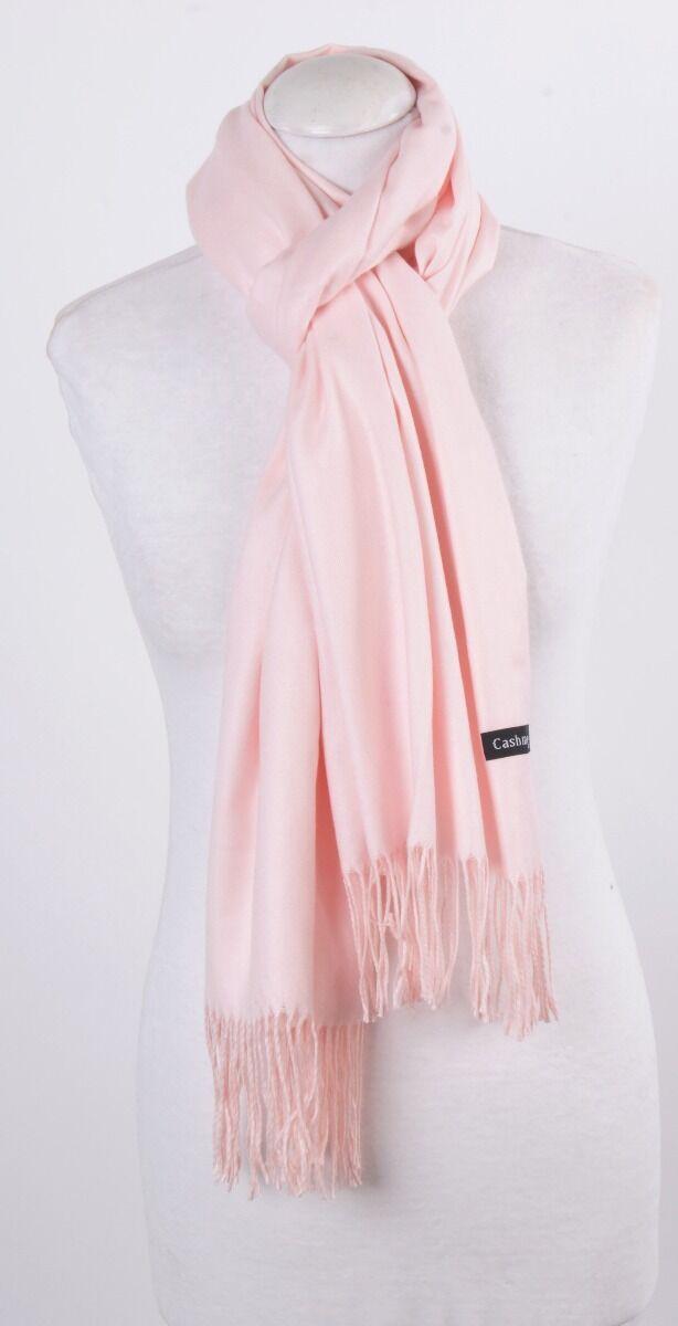 Kasjmier sjaal in effen licht roze