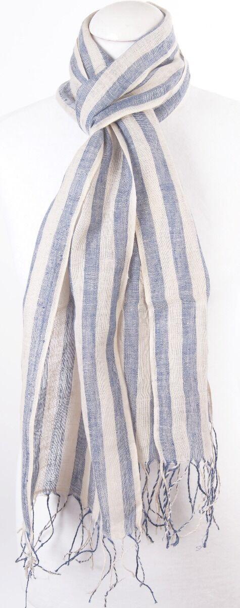 Gestreepte linnen sjaal in denimblauw met ecru