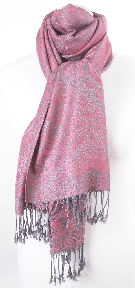 Donker-oudroze geweven pashmina sjaal met paisley patroon