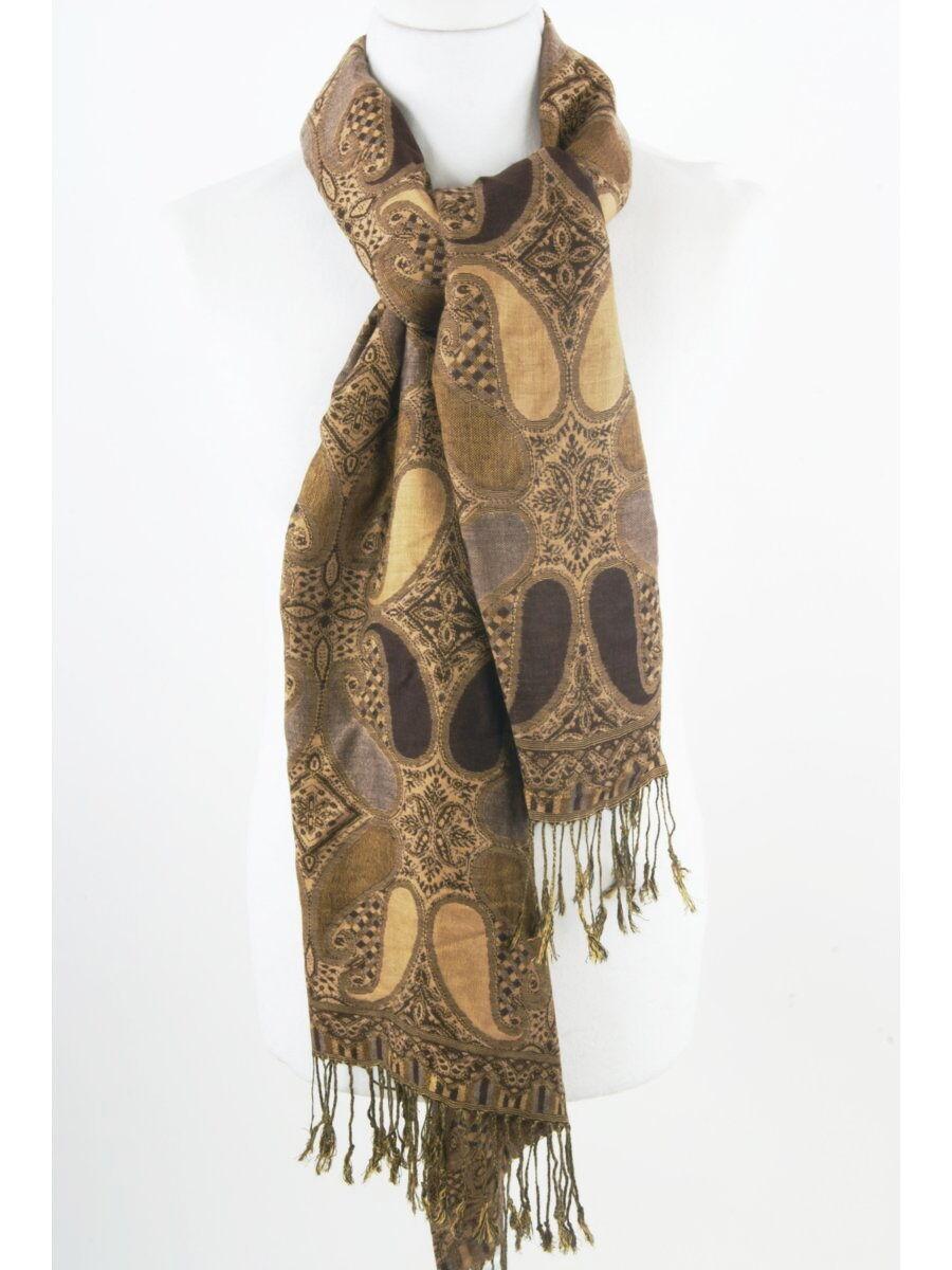 Bruin-camel pashmina sjaal met paisley