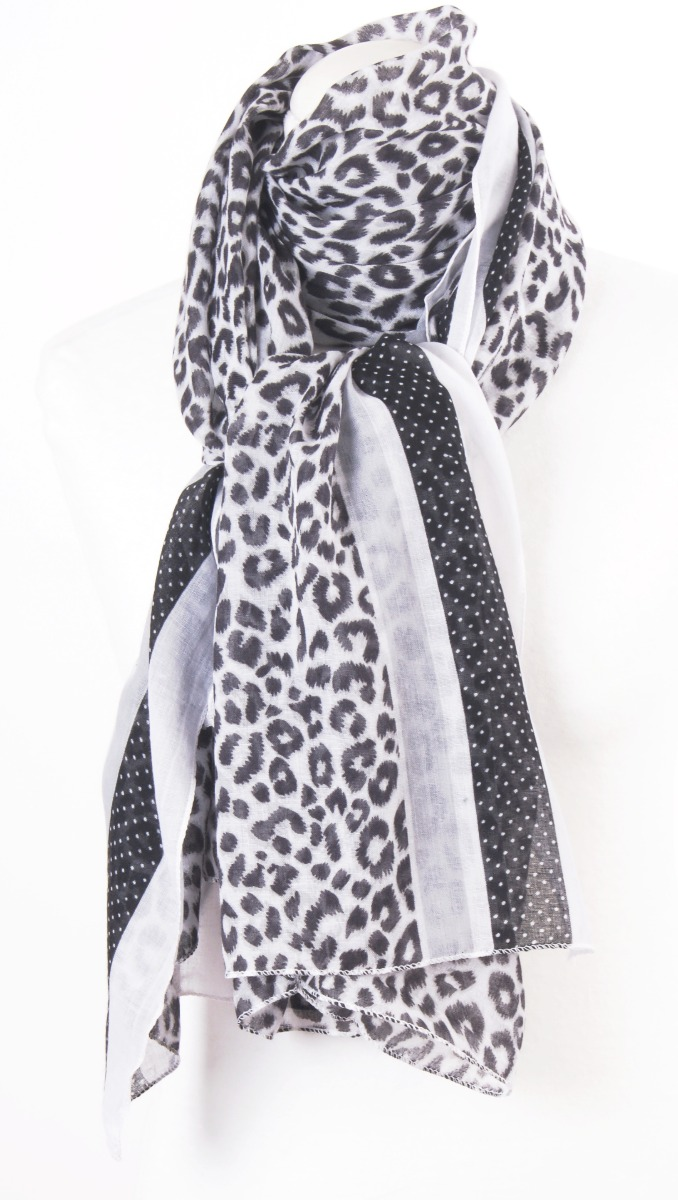 Sjaal met gemixte print in zwart en wit