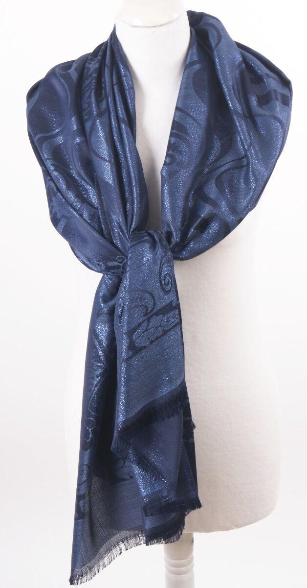 Donkerblauwe zijden-blend stola - sjaal met ingeweven patroon