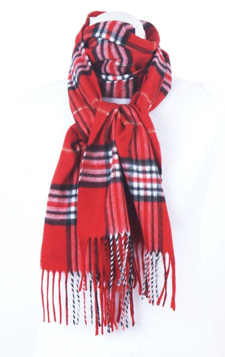 Rode ultra zachte sjaal met ruiten