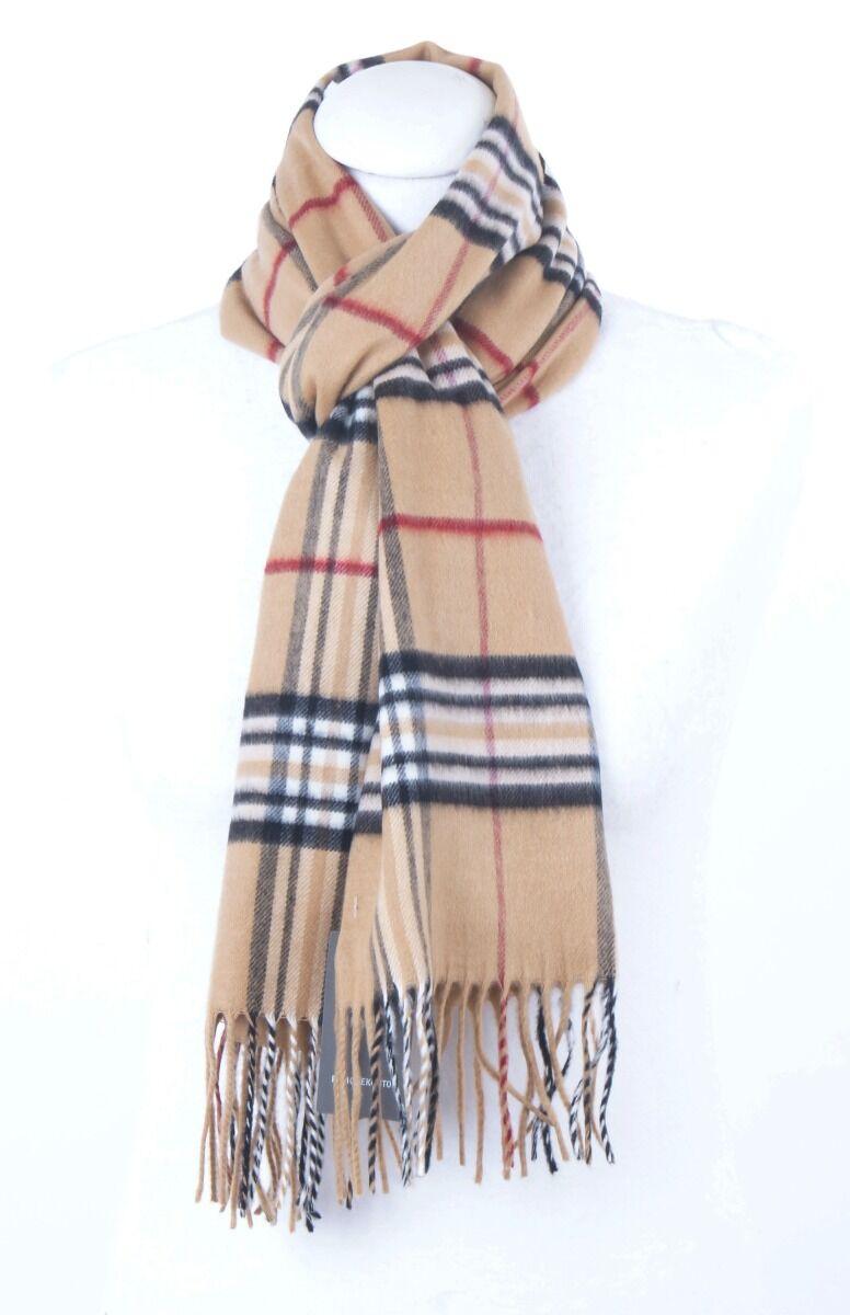 Beige Cashmink sjaal met ruiten