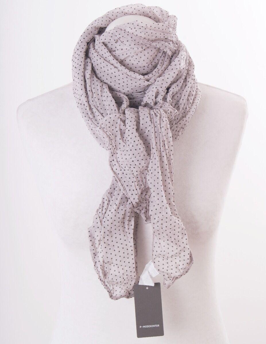 Kiezelgrijze zijde blend sjaal met stipjes