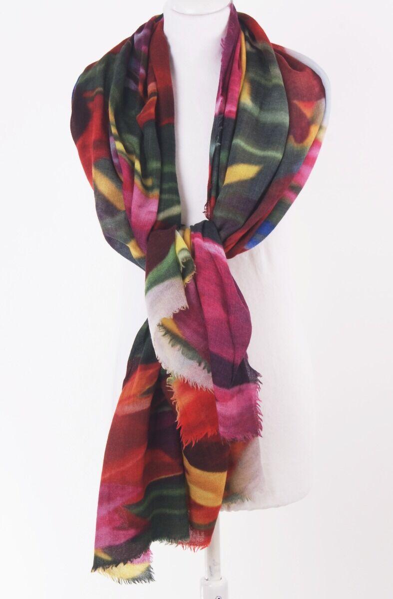 Zachte wollen mousseline sjaal met tulpenprint