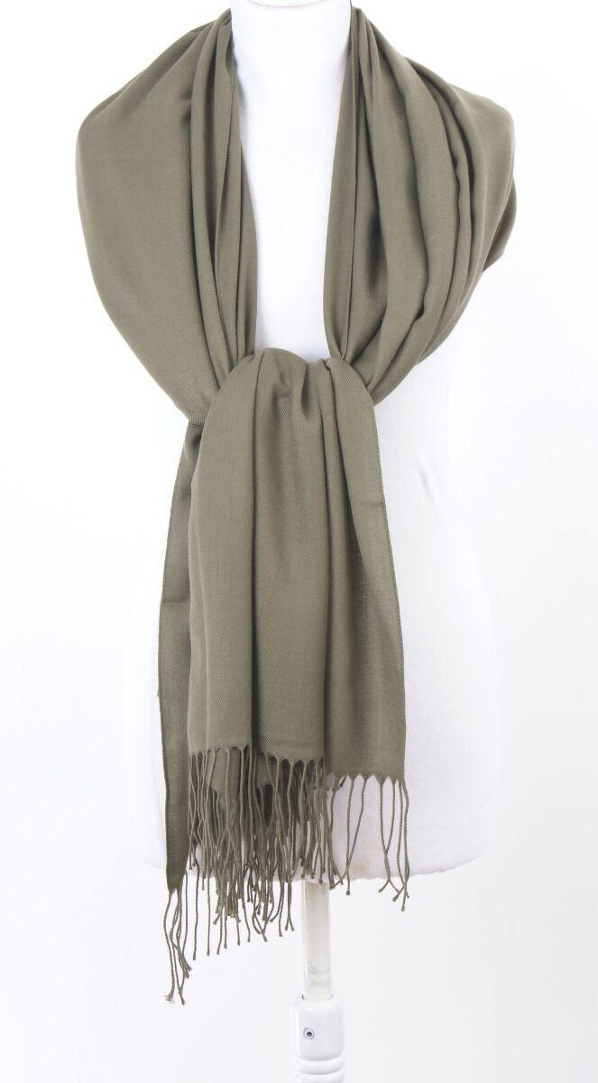 Effen legergroene pashmina sjaal