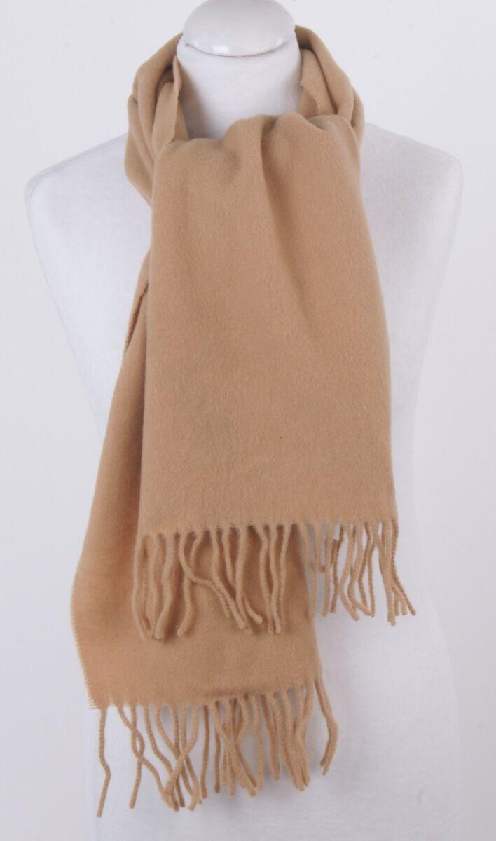 Effen licht-camelkleurige lamswollen sjaal