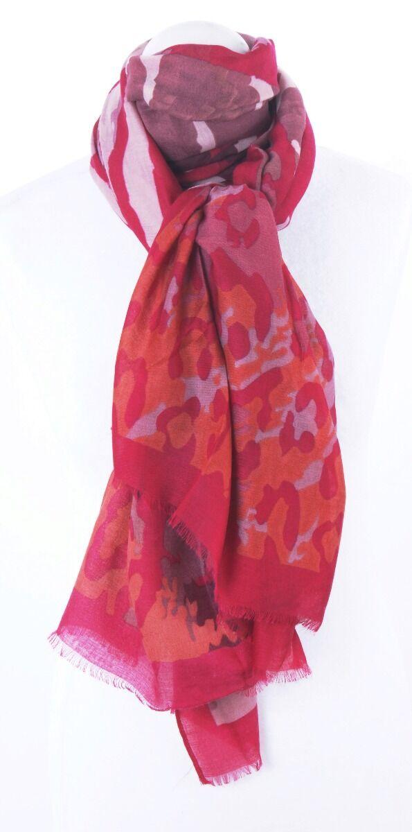 Soepelvallende roze sjaal met mixed print